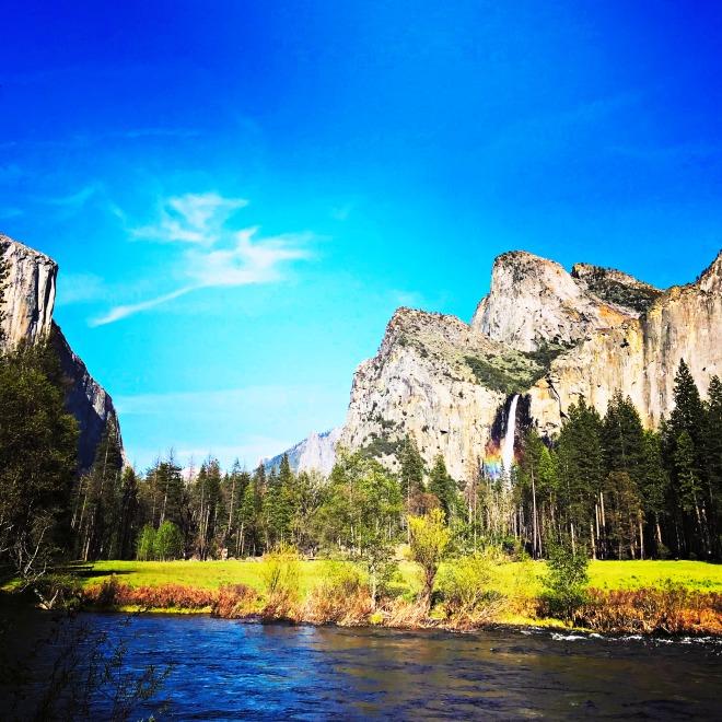 Rainbow on Waterfall Yosemite